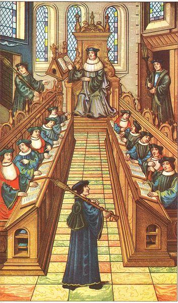 Миниатюра 16-го века, изображающая собрание докторов в Парижском университете